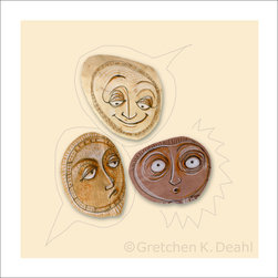 """Face Art - The Human Psyche: """"Gossip"""" PRINT - FACES. We all have them. They fascinate me. Expressions in particular - from subtle to extreme. VINTAGE PAPER. These too share qualities of human expression. From long ago handwritten notes, aged newspapers & maps, to worn paper stained with time. In this series of prints, I combine them to create whimsical """"stories"""" about the nature of being human."""