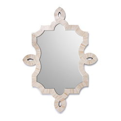 Kathy Kuo Home - Bethany Hollywood Regency Natural Bone Inlay Wall Mirror - The luxury of hand applied bone inlay is given a hint of modern baroque styling to gorgeous effect in the lines and materials of the Bethany mirror.  Perfect for a Hollywood Regency space, this mirror will add light and serious style points to any wall.