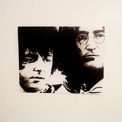 John And Paul (Original) by Katie Revilla - This is a black and white painting I did of John Lennon and Paul McCartney. They are both extremely talented artists and their relationship was something truly special.