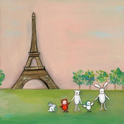 """We are in Paris"" by Creative Thursday - I am a huge fan of Marisa Haedike, the artist behind Creative Thursday — the characters she creates are so dear and personal. I recently fell in love with this Paris print, with the whole gang hanging out in front of La Tour Eiffel and a pink sky."