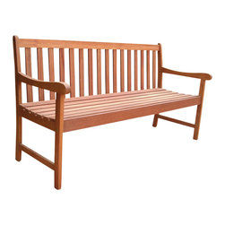 "Vifah - Vifah Nobi 5' Hardwood Bench - Vifah - Outdoor Benches - V416 - The Nobi 5 ft Bench is beautifully manufactured in Shorea Hardwood sitting two individuals comfortably. Classically designed to match any decor this bench will add the perfect touch of serene style to any home.Nobi 5' Bench provides extra seating while enhancing the style of your outdoor decor with the Nobi 5' Bench. With its slatted construction and weather-resistant materials this patio furniture features casual elegance and exceptional quality. Make the perfect addition to your outside area.Material: High Density Eucalyptus (or also known as Shorea in our line) is the premium grade of solid ""Eucalyptus Gradis"" hardwood grown in 100 % well managed forests in Brazil certified by the FSC (Forest Stewardship Council). There is little difference between High Density Eucalyptus (Shorea) and Teak when broken down to their core essence. The biggest attribute of High Density Eucalyptus (Shorea) is undoubtedly the strength of the timber. Its renowned for its excellent resistance to every day wear and tear. It is extremely durable and tightly grained to produce a desirable density.  It remains unaffected by all variations in weather especially its resistance to damp conditions makes itself extremely competent at combating insect attacks and decay.Features:"