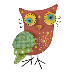 Zeckos - Whimsical Hand Painted Tabletop Tin Owl - This owl is a cute, colorful addition to your home or patio. The layered wing, nose, and eyes are attached with springs, adding depth to the piece, and details like the curled eyelashes contribute to the overall folk art look. It is made of tin, hand painted, and measures 8 3/4 inches tall, 5 3/4 inches wide, and 3 1/4 inches deep. It makes a great gift for your favorite teacher, or any wise friend in your life with an appreciation for unique art.