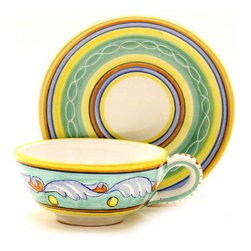 Artistica - Hand Made in Italy - Giada: Tea/Coffee Cup and Saucer - Giada Collection: