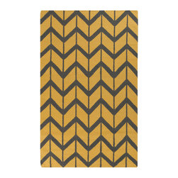 #N/A - Fallon Collection Rug in Yellow and Grey Chevron - Fallon Collection Rug in Yellow and Grey Chevron. From delicate lattice patterns to boldly colored chevron patterns the Fallon Collection makes a statement in flat weave; from creator Jill Rosenwald known for her beautifully colored, hand-made ceramics.