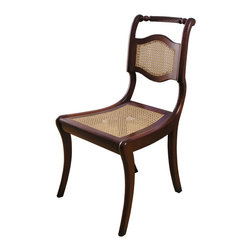 Regency Caned Side Chair - Shown in Cherry, semi-gloss, espresso stain, with caned back and seat.