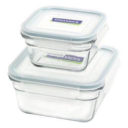 Glasslock 4pc Square Oven Safe Set - Includes: Square 1 x 3.3 cup / 1 x 1.5 cup