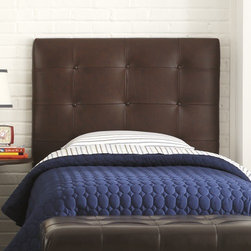 """Skyline Furniture - Upholstered Headboard - This classic headboard is a great addition to your little one's bedroom.Easily attaches to standard metal bedframes (not included). Features: -Leather upholstery and button tufting.-Requires box spring and mattress (not included).-Spot clean only.-Distressed: No.Dimensions: -Overall Height - Top to Bottom (Size: Full, Twin): 54"""".-Overall Width - Side to Side (Size: Twin): 41"""".-Overall Width - Side to Side (Size: Full): 56"""".-Overall Depth - Front to Back (Size: Full, Twin): 4""""."""