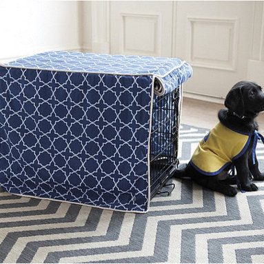 Ballard Designs - Trellis Pet Crate Cover - I have a dog crate at home that's used when I need to leave the house. I wish there were a way to cover the pet crate because it's a big, bulky eyesore. This cover from Ballard Designs is a nice way to camouflage your pet's wire crate.