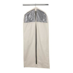 Household Essentials - Cedarline Collection Dress/Suit Protector, Natural - Our Dress or Suit Garment Bag in natural color protects your suits and dresses. The garment bag has sturdy and smooth canvas that keeps your clothing safe and allows the inflow of air. It fits over your hangers and complements any rod or wire closet. Instantly transform the bag from excellent storage to extraordinary. The organizer uses 6 planks made from natural red cedar and repels moisture and insects thereby keeping your clothes fresh and ready to use.