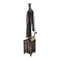 "Winsome Wood - Winsome Wood Memphis Coat Tree & Umbrella Rack with Cappuccino Finish X-47404 - Perfect for your front entry way to greet your coats, umbrellas or hats.  Comes with four double hooks and storage rack.  Storage has four sections with each has 5""W x 5""D x 17""H.  Double metal hooks made of zinc alloy with satin nickel finish.  Coat Tree is made from combination of solid and composite wood in Cappuccino Finish.  Assembly Required."