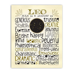 Leo • Zodiac Typography Print, 8x10 - Designed with a snug-fit full page of typography, this print highlights the positive traits that are commonly associated with each astrological sign. A unique medallion in the center features a custom designed constellation graphic. The zodiac sign symbol punctuates the last line. A sprinkling of stars, fun lettering and neutral colors make this easy to hang with different decor styles. Gold & black on ivory.