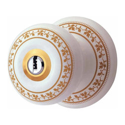 Renovators Supply - Door Locks Golden Porcelain Keyed Int/Ext Door Lock Knob Set | 13306 - Porcelain Knob Key-entry Locksets provide a nostalgic charm to any home. These keyed-entry assemblies offer high quality- durability and security at affordable prices. Backset adjusts to either: 2 3/4 in. or 2 3/8 in. Knob diameter: 2 3/8 in.