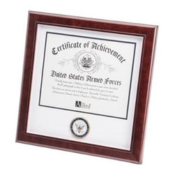 Flags Connections - U.S. Navy Medallion Certificate Frame - U.S. Navy Medallion Certificate Frame is designed to hold a single 8-Inch by 10-Inch document, certificate, award, diploma or picture. This picture is set into a double layer of Navy White matting with Gold trim. The frame is made from Mahogany colored wood, and the outside dimensions measure 14-Inches by 14-Inches. The U.S. Navy Medallion 8-Inch by 10-Inch Certificate Frame is perfect for proudly displaying the picture of an individual who is serving, or has served in the U.S. Navy.