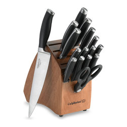 Calphalon Contemporary 17-Piece Knife Block Set - A set of knives (that includes steak knives) is super handy. This one comes with a large chef's knife, but investing in an additional chef's knife or Santoku knife is worth it. And if you get a set that comes in a block, make sure the slots are sideways so that the blades don't dull.