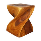 Kammika - Big Twist Sustainable Wood 16 x 16 x 20 inch Ht w Livos Eco Friendly Oak Oil Fin - Revel in the beauty of a Sustainable Monkey Pod Wood Big Twist 16 inch x 16 inch x 20 inch height with Eco Friendly, Natural Food-safe Livos Oak Oil Finish End Table. This piece can serve as an end table, display stand, or stool; two or more together can serve as a coffee table or bench. Each is carved from a single piece of Monkey Pod wood; these are appealing to the viewer from any angle. Each piece is a Work of Functional Sustainable Monkey Pod Wood Eco Friendly Art! Craftspeople from the Chiang Mai area in Northern Thailand create these unique pieces with the simplest of tools. After each sustainable Monkey Pod wood (Acacia, Koa, Rain Tree grown for wood carving) piece is kiln dried, carved and sanded, it is rubbed in Livos Oak tone oil creating a water resistant and food safe matte finish. These oils are translucent, so the wood grain detail is highlighted. The light and dark portions turn to darker shades of brown over time, and the alkaline in the oils creates a honey orange color. There is no oily feel, and cannot bleed into carpets. Crafted from a sustainable Monkey Pod wood species, we make minimal use of electric hand sanders in the finishing process. All products are dried in solar and or propane kilns. No chemicals are used in the process, ever. We use only eco friendly finishing oils. This functional art piece is packaged with cartons from recycled cardboard with no plastic or other fillers. Made from the thick branches of the quick-growing Acacia tree, where each branch is cut and carved to order (allowing the tree to continue growing), the color and grain of your piece of Nature will be unique, and may include small checks or cracks that occur when the wood is dried. Sizes are approximate. Products could have visible marks from tools used, patches from repairs, knot holes, natural inclusions or holes. There may be various separations or cracks on your piece w