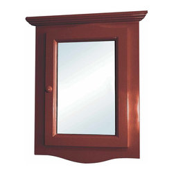 Renovators Supply - Medicine Cabinets Cherry Hardwood Corner Medicine Cabinet 27 1/8 | 17909 - Corner Medicine Cabinet with Mirror. This beautiful corner hardwood medicine cabinet has a cherry stain finish. Space-saving design conveniently maximizes bathroom space. It comes with a front mirror and kob located on the left side. Opens from the left side towards the right side. The interior is white and easily wipes clean, and has one shelf. Easy to install flush to the wall (not recessed) and comes with mounting screws. NOTE: this item is in product, therefore the finish shown may vary from the actual product. Overall measures with decorative molding 27 1/8 inch H x 20 1/8 inch W x 10 1/4 inch projection