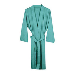 "Grandin Road - Organic Cotton Jersey Robe - Lightweight, knit jersey bath robe. Kimono style shape with two patch pockets and an attached 72""-long sash. Made from 100% organic combed cotton. 190 GSM weight. Machine wash cold; tumble dry low. Pamper yourself with this kimono-style bath robe made from organic interlock jersey knit - it's perfect for chilly mornings and after stepping out of the shower. Each 42"" long robe is woven from lightweight, 100% organic combed cotton, with two front patch pockets and a matching sash. Wrap up in your favorite color, keep one on hand for house guests, or give one as a gift.. . . . . Imported."
