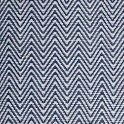 Hook & Loom Rug Company - Herringbone Denim/White Rug, Denim/White, Swatch - Very eco-friendly rug, hand-woven with yarns spun from 100% recycled fiber.  Color comes from the original textiles, so no dyes are used in the making of this rug.  Made in India.