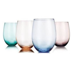 "Home Essentials - Tuscana Assorted Colors Stemless Wine Goblets - Add a little fun and color to your tabletop with our attractive stemless wine glasses! These new and original goblets will make quite an impression at your next dinner party, wine tasting event or afternoon outside on the patio. Pair them with aqua blue, olive green, or pretty pinks for a fresh spring-inspired feel. Guests and family members will love professional look and vibrant colors of this innovative glassware collection.             * Set of 4       * Capacity: 14 oz       * Dimensions: 4"" x 4"" x 6"""