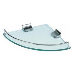 Aqua - Corner Glass Shelf Chrome Harware - Corner Glass Shelf with Edge Rail