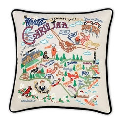 CATSTUDIO - North Carolina State Pillow by Catstudio - Celebrate the states! These pillows from Catstudio's Geography Collection are delightful keepsakes for remembering the hometown you grew up in or commemorating your favorite vacation spot. Embroidered entirely by hand (over 35 hours go into each one!) with black velvet piping, these make the perfect gift for all occasions! Removable cotton cover and polyfill pillow form. Cover is dry clean only.