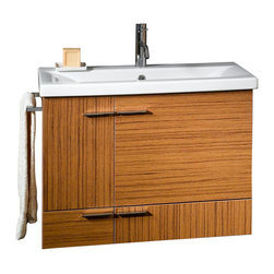 Iotti - Teak Vanity Cabinet and Self-Rimming Sink - This stylish wall mounted bathroom vanity set includes a vanity cabinet with 2 doors and 1 drawer made on engineered wood in a teak finish.