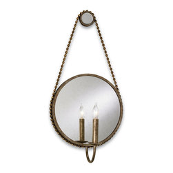 Currey and Company - Somerset Wall Sconce - A picture perfect frame isn't just for art or photos. You'll want to hang this charming wall sconce in their place. The mirror, surrounded by a wrought iron edge, enhances the beautiful glow radiating from the candelabra.