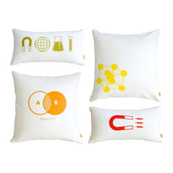 """Gus Modern Graphic Pillows Set of 4 - Graphic Pillows by Gus Modern. Add a pop of color to any Gus sectional, sofa, love seat or chair.  An organic off-white cotton cover filled with goose feathers is decorated with non-toxic ink.  This year's design theme is """"Smart Science""""."""