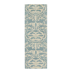 """Chandra - Contemporary Thomaspaul Hallway Runner 2'6""""x7'6"""" Runner Blue-White Area Rug - The Thomaspaul area rug Collection offers an affordable assortment of Contemporary stylings. Thomaspaul features a blend of natural Blue-White color. Hand Tufted of New Zealand Wool the Thomaspaul Collection is an intriguing compliment to any decor."""