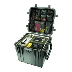 "Pelican - PELICAN 0450-015-110 0450 Mobile Tool Chest - � Heavy-duty buttress hinges;� Auto pressure-equalization valves;� 2-way handles;� Stable, wide track mobility;� Optional drawers;� Easy access beneath the top lid;� 3 unsealed side pockets for storage of smaller items;� Hybrid double-throw butterfly latches;� Graduated deflector ribs;� Secure stack design;� Trolley handle & wheel system;� Interior dim: 20.56""H x 10.97""W x 12.65""D"