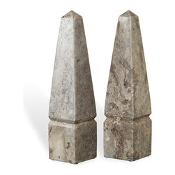 Kathy Kuo Home - Riviere Rustic Lodge Gray Marble Obelisks - Set of 2 - You don't have to go on an odyssey to collect these two marble obelisks. The perfect pair is finished in gray and handsomely graces an eclectic side table, modern desk or stately bookshelf.