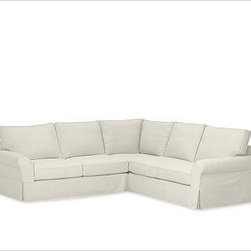 """PB Comfort Roll-Arm 3-Piece L Shaped Sectional Slipcovers, Organic Cotton Canvas - Designed exclusively for our PB Comfort Sectional, these soft, inviting slipcovers retain their smooth fit and remove easily for cleaning. Left 3-Piece Sectional with Box Cushions shown. Select """"Living Room"""" in our {{link path='http://potterybarn.icovia.com/icovia.aspx' class='popup' width='900' height='700'}}Room Planner{{/link}} to select a configuration that's ideal for your space. This item can also be customized with your choice of over {{link path='pages/popups/fab_leather_popup.html' class='popup' width='720' height='800'}}80 custom fabrics and colors{{/link}}. For details and pricing on custom fabrics, please call us at 1.800.840.3658 or click Live Help. All slipcover fabrics are hand selected for softness, quality and durability. Left-arm configuration is shown; also available in right-arm configuration. {{link path='pages/popups/sectionalsheet.html' class='popup' width='720' height='800'}}Left-arm or right-arm configuration{{/link}} is determined by the location of the arm on the love seat as you face the piece. This is a special-order item and ships directly from the manufacturer. To see fabrics available for Quick Ship and to view our order and return policy, click on the Shipping Info tab above. Watch a video about our exclusive {{link path='/stylehouse/videos/videos/pbq_v36_rel.html?cm_sp=Video_PIP-_-PBQUALITY-_-SUTTER_STREET' class='popup' width='950' height='300'}}North Carolina Furniture Workshop{{/link}}."""