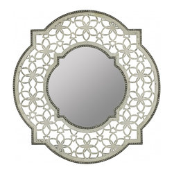 """Cooper Classics - Elgin Antique Gold with Aged Red Undertones Oval Mirror - Antique White Finish with Silver Accents Frame Dimensions: 32""""W X 32""""H X 1.5""""D; Finish: Antique White with Silver Accents; Material: Wood; Beveled: No; Shape: Unique; Included: Brackets, Ready to Hang"""