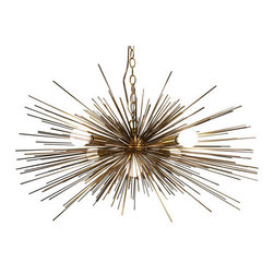 Gold Urchin Chandelier with 5 Lights by Stimulight - This spectacular urchin chandelier is the creative tangent work of a West Elm designer and is currently only available through Etsy. The golden spines lend a midcentury feel and would go a long way in bringing a modern touch to a living or dining room.