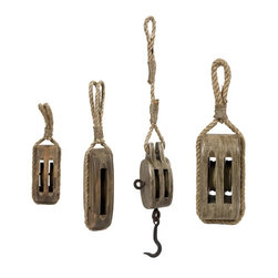 "IMAX - Nautical Wooden Pulley - Set of 4 - Taste the salt in the air and f l the wind in your face as your imagination takes you sailing! This set of decorative nautical pulleys is the perfect touch to add charm to your seaside decor. Item Dimensions: (10-14-14-19""h x 3.25-4-4-3""w x 3-3-4-5.5"")"