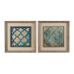Uttermost - Stained Glass Indigo Art Set of 2 - Prints are accented by oatmeal linen mats then surrounded by medium toned reclaimed wood frames with a taupe wash and matching filet. Prints are under glass.