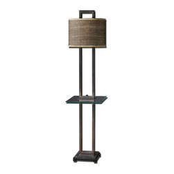 Uttermost - Stabina End Table Lamp - 28718-1 - Uttermost 28718-1 - Rustic bronze metal with burnished edges, black marble foot and a tempered, rectangle glass tray. The oval drum shade is brown and tan woven rattan with decorative trim.