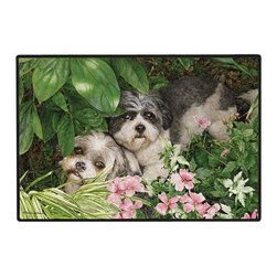 240-Garden Party Doormat - 100% Polyester face, permanently dye printed & fade resistant, nonskid rubber backing, durable polypropylene web trim on the porch or near your back entrance to the house with indoor and outdoor compatible rugs that stand up to heavy use and weather effects