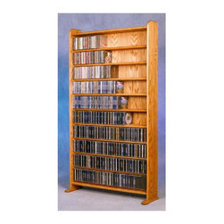 Wood Shed - 10 Shelf CD Storage (Unfinished) - Finish: UnfinishedCapacity: 935 CD's. Made from solid oak. Honey oak finish. 35.5 in. W x 10 in. D x 66 in. H