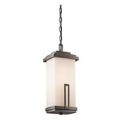 Kichler 1-Light Outdoor Fixture - Anvil Iron Exterior - One Light Outdoor Fixture. This 1 light hanging lantern from the soft contemporary Leeds collection is a striking statement for any home. It features a cased opal glass rectangular shade with a distinctive rectangular accent. Width: 8. 5, height: 19, overall hgt: 93. Uses 1 100w bulb or 1 23-30w cfl. Rated for damp locations. For additional chain order 4927avi.