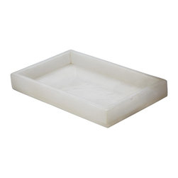 Lazy Susan - Lazy Susan 786024 White Alabaster Vanity Tray - This tray has a reason to hold vanity in high esteem. It's handcrafted of lustrous and translucent alabaster in a size that's about 5-by-8 inches. Use it to corral perfumes and jewelry on your vanity, or other small items on your desk or entry console.