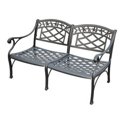 Crosley Furniture - Loveseat in Charcoal Black - Contoured seats for comfort. Heavy duty cast aluminum construction. Maintenance free. UV resistant. Transitional style. Warranty: 90 days. Made from solid cast aluminum. Non-toxic sealed powder coated finish. Assembly required. 51 in. W x 29.5 in. D x 31 in. H (54.8 lbs.)It may be hot outside, but youll feel cool kicking back in our heavy duty, solid-cast aluminum furniture. Designed for style and built to last, this loveseat features a durable charcoal black powder coated finish that will weather the harshest of outdoor conditions. Experience pure nirvana while unwinding in the chairs comfortable contoured seats. Your very own outdoor oasis awaits you!