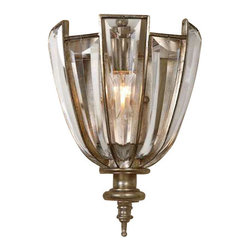Uttermost Vicentina 1 Light Crystal Wall Sconce - Burnished silver champagne leaf and beveled crystals an elegant sconce of beveled crystals enhanced with burnished silver champagne leaf finish, presents a modern update of traditional elements able to blend into many interior looks.