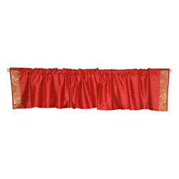 Indian Selections - Pair of Fire Brick Rod Pocket Top It Off Handmade Sari Valance, 80 X 15 In. - Size of each Valance: 80 Inches wide X 15 Inches drop. Sizing Note: The valance has a seam in the middle to allow for the wider length