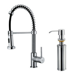"Vigo - Vigo VG02001CHK2 Chrome Kitchen Faucets Kitchen Faucet Single Handle - Kitchen Faucet Single Handle with Pull-Out Spray and Soap Dispenser 18.5"" Height Make your kitchen ""pop"" with this functional Vigo faucet. Vigo vg02001k2 Includes:  Pullout spray kitchen faucet All mounting hardware Hot and cold water lines  Vigo vg02001k2 Faucet Features:  Solid brass construction which ensures durability and longer life Dual pullout spray head featuring aerated flow or powerful spray Easy to clean pullout spray face Unique finishing process resists corrosion and tarnishing, exceeding industry durability standards High-quality ceramic disc cartridge ensures maintenance-free use 360-degree swivel spout Retractable spout expandable up to 30"" Single-hole installation Single lever water and temperature control Water pressure tested for industry standard 2.2 GPM flow rate Limited Lifetime Warranty  Vigo vg02001k2 Faucet Specifications:  Spout height: 18 1/2"" Spout reach: 10"" 2.2 GPM Flow Rate  Vigo vg02001k2 Faucet Certifications:  UPC, cUPC, CSA, IAPMO, ANSI and SCC Listed ADA Compliant  Alternate Configurations of the vg02001k2:  VG02001: This model has no deck plate or soap dispenser Vg02001K1: This model includes deck plate Kitchen Combos: For Vigo kitchen sink and faucet combos that include this kitchen faucet search: VG02001 Combos"