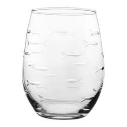 Rolf Glass - School of Fish Tumbler, Clear, 21 Oz. - Every now and again we all swim against the current. With this artfully depicted school of fish design, beautifully etched and polished fish swim together, save for one little guy headed in the opposite direction. A delightful nod to individuality and the unique spirit inside all of us.  Made in USA.