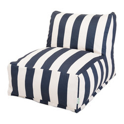 Majestic Home - Outdoor Navy Blue Vertical Stripe Bean Bag Chair Lounger - Add style and functionality to your living room, family room or outdoor patio with the Majestic Home Goods Bean Bag Chair Lounger. This Beanbag Chair has the design of modern furniture, while still giving the comfort of a classic bean bag. Woven from outdoor treated polyester, these loungers have up to 1000 hours of U.V. protection and are able to withstand all of natures elements. The beanbag inserts are eco-friendly by using up to 50% recycled polystyrene beads, and the removable zippered slipcovers are conveniently machine-washable.