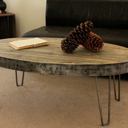 Oval Industrial Reclaimed Wood Table - Oval Industrial Coffee Table (Industrial Collection)