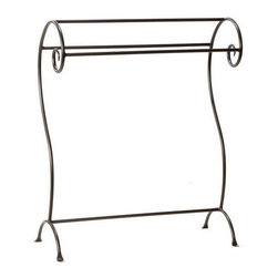 Stone County Ironworks - Waterbury Blanket Stand (Gunmetal) - Finish: Gunmetal. Elegant design. Curled top. Heirloom quality. Arched penny foot. Made from iron. 17.5 in. L x 14 in. W x 36 in. H (25 lbs.)