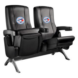 Dreamseat Inc. - Toronto Blue Jays MLB Row One VIP Theater Seat - Triple - PLEASE NOTE: This item is the 3-seat version. We apologize that we do not have photos of 3 together. Check out these fantastic home theater chairs. These are the same seats that are in the owner's VIP luxury boxes at the big stadiums. It has a rocker back and padded seat, so it's unbelievably comfortable - once you're in it, you won't want to get up. Features a zip-in-zip-out logo panel embroidered with 70,000 stitches. Converts from a solid color to custom-logo furniture in seconds - perfect for a shared or multi-purpose room. Root for several teams? Simply swap the panels out when the seasons change. This is a true statement piece that is perfect for your Man Cave, Game Room, basement or garage.